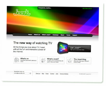 Screenshot der Joost-Website