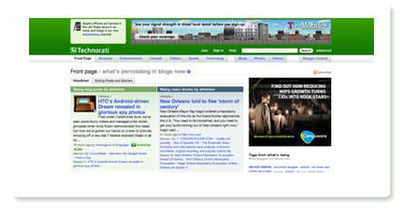 Screenshot Technorati