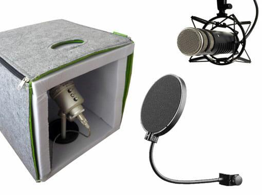 Tonstudio, Poppschutz und Mikrofonspinnen helfen bei der Optimierung der Aufnahmebedingungen.