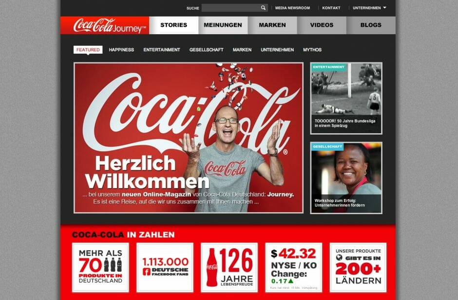 Coca-Cola Journey Startseite