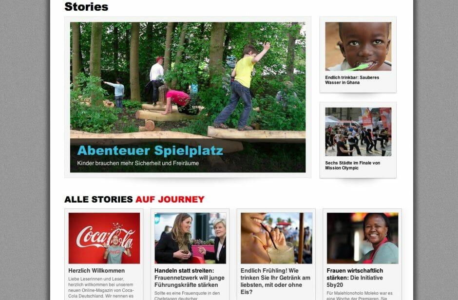"""Die """"Stories"""" zeigen, was Coca Cola auf der Seite alles gleichzeitig unter einen Hut bringen möchte."""