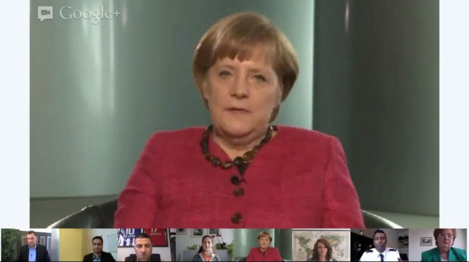 Angela Merkel im Google+ Hangout