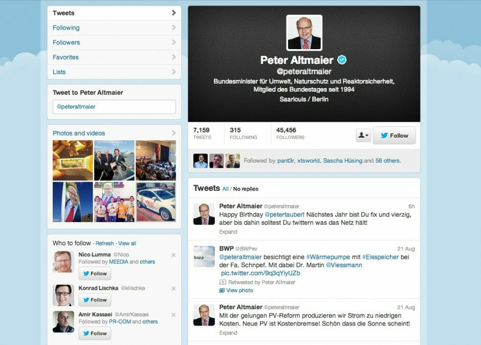 Peter Altmaier auf Twitter