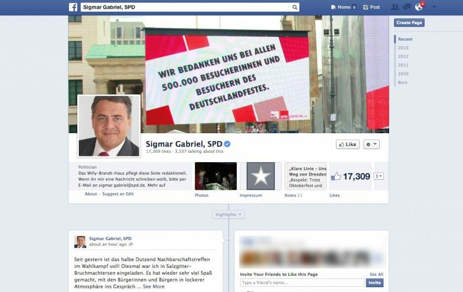 Sigmar Gabriel auf Facebook