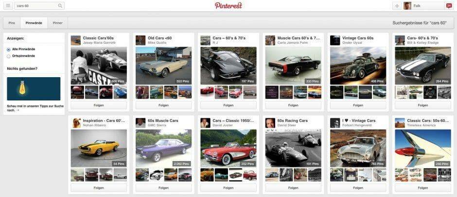Die Suche von Pinterest zeigt nicht nur passende Pins an, sondern auch Pinner mit dem Suchbegriff im Namen und wie auf diesem Screenshot Pinnwände.