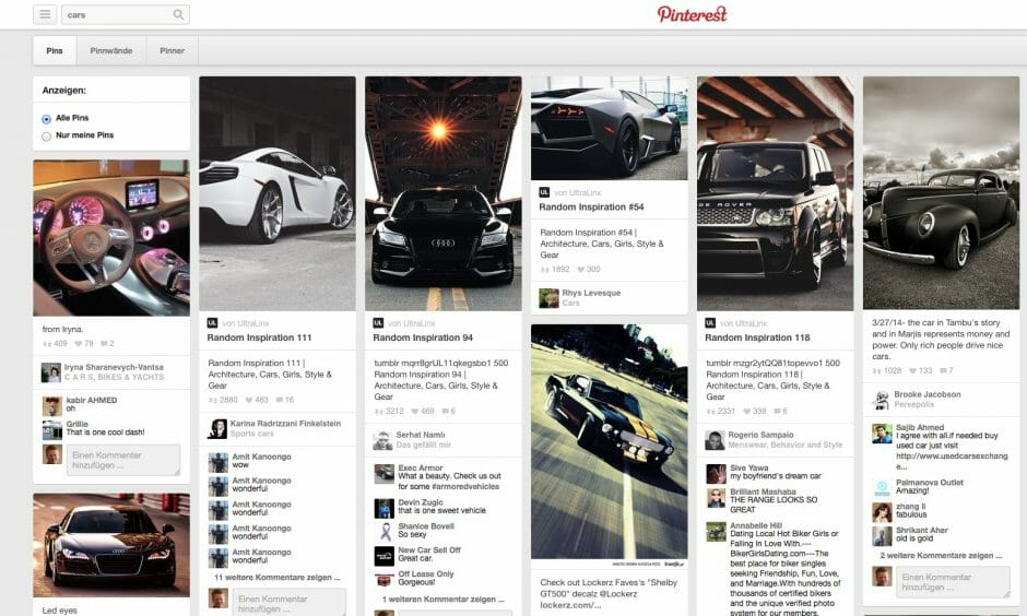 """Die Suche nach """"Cars"""" zeigt viele passende Inhalte an."""