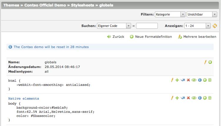 Interner CSS-Editor