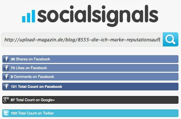 Werden die sozialen Reaktionen nicht angezeigt, bieten Tools wie socialsignals ihre Hilfe an: Einfach die URL des Blogbeitrags kopieren und in die Eingabezeile einsetzen…
