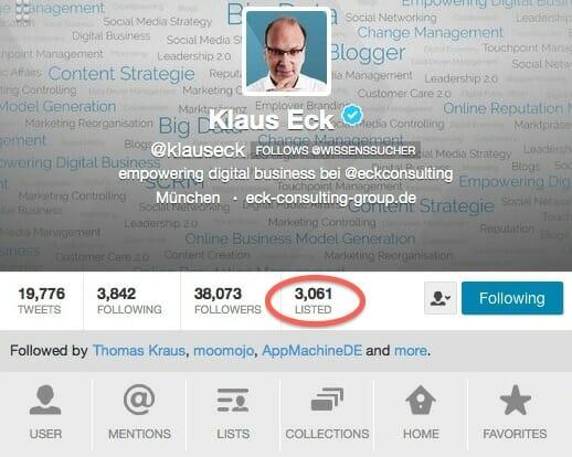 Klaus Eck gehört im deutschen Sprachraum zu den einflussreichsten Twitterern und steht auf über 3.000 Listen.