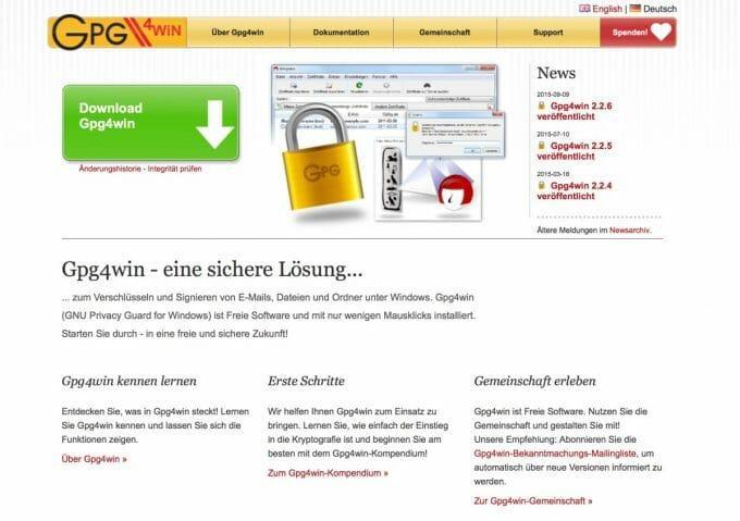 Website von Gpg4win, einer Verschlüsselungslösung für Outlook.