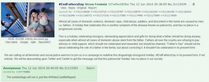 Auf 4chan wurden die Fake-Feministinnen und ihre Aktion zur Abschaffung des Vatertags erdacht.