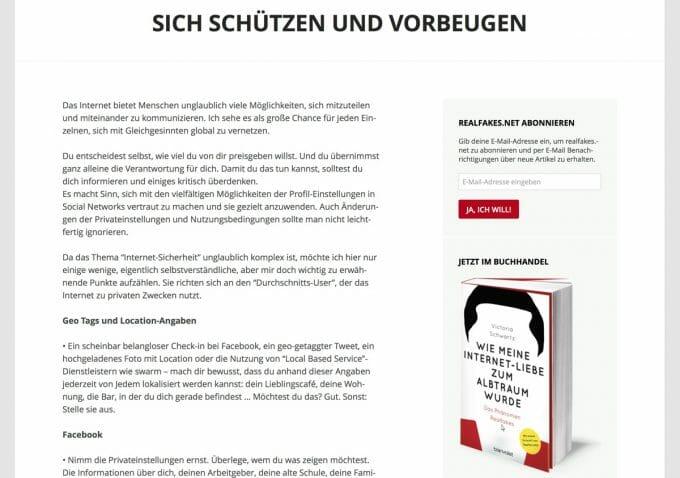 Die Seite realfakes.net von Victoria Schwartz aus Hamburg informiert über bekannte und neue Betrugsmaschen.