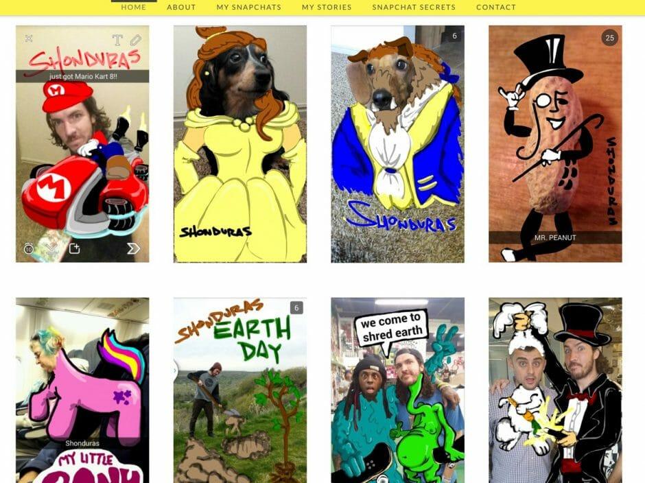 Auf seiner Website zeigt Shonduras etliche Beispiele für seine kreativen Snaps.