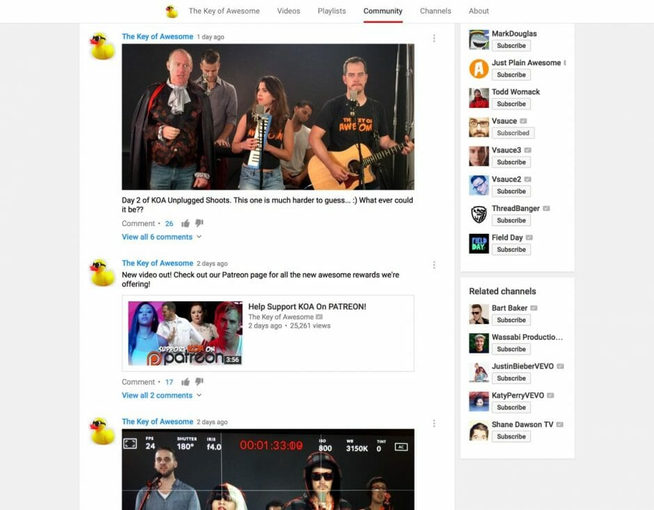 """Screenshot der YouTube Community von """"The Key of Awesome"""""""