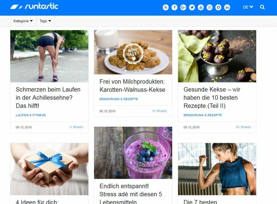Runtastic betreibt viel Aufwand für seinen Blog und nimmt dafür richtig Geld in die Hand (Foto: Screenshot / Runtastic.de)