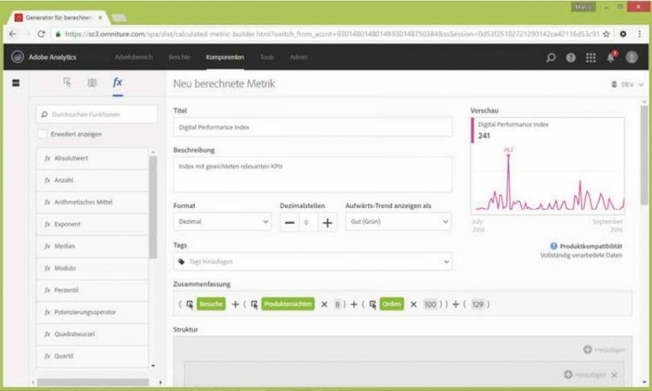 Berechnung des Digital Performance Index im Formel-Editor von Adobe Analytics
