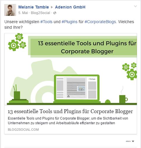 Beispiel Link Post auf einer Facebook Unternehmensseite