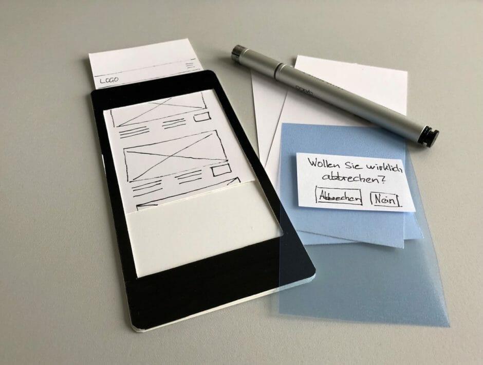 Papierprototyp Smartphone
