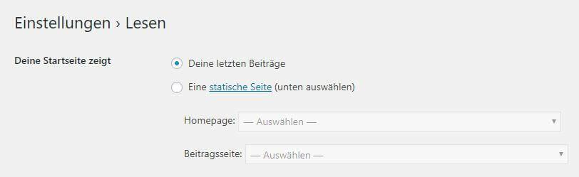 WordPress Beitragsseite definieren