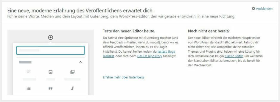 Warnung zu WordPress 5.0 in 4.9.8