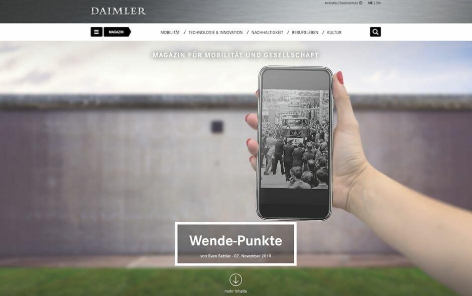 Screenshot neues Daimler-Magazin