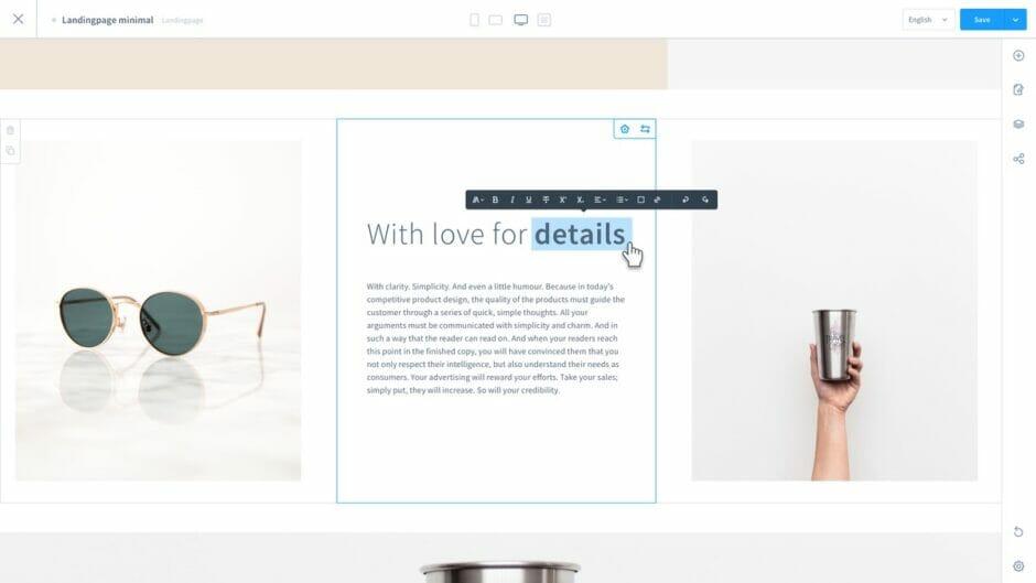 Screenshot des neuen Editors für Shopping Experiences