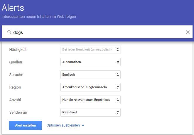 Optionen in den Google Alerts