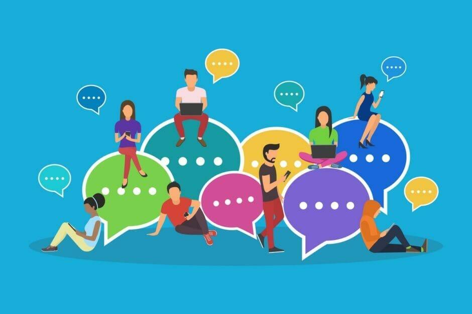 Illustration zeigt Personen auf und neben Chat-Symbolen