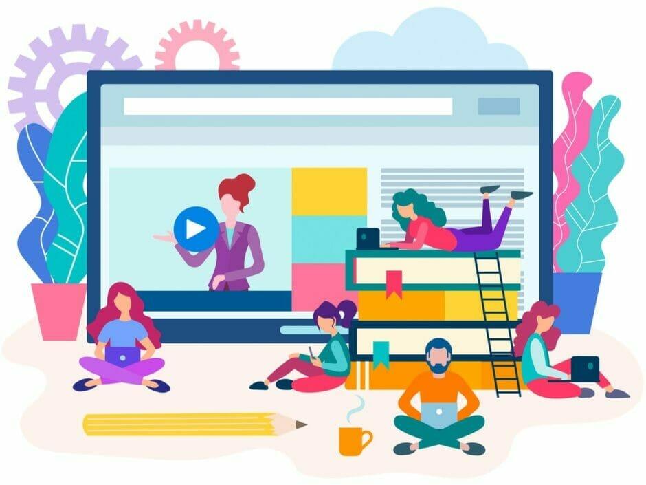 Illustration zeigt Personen beim Lernen online