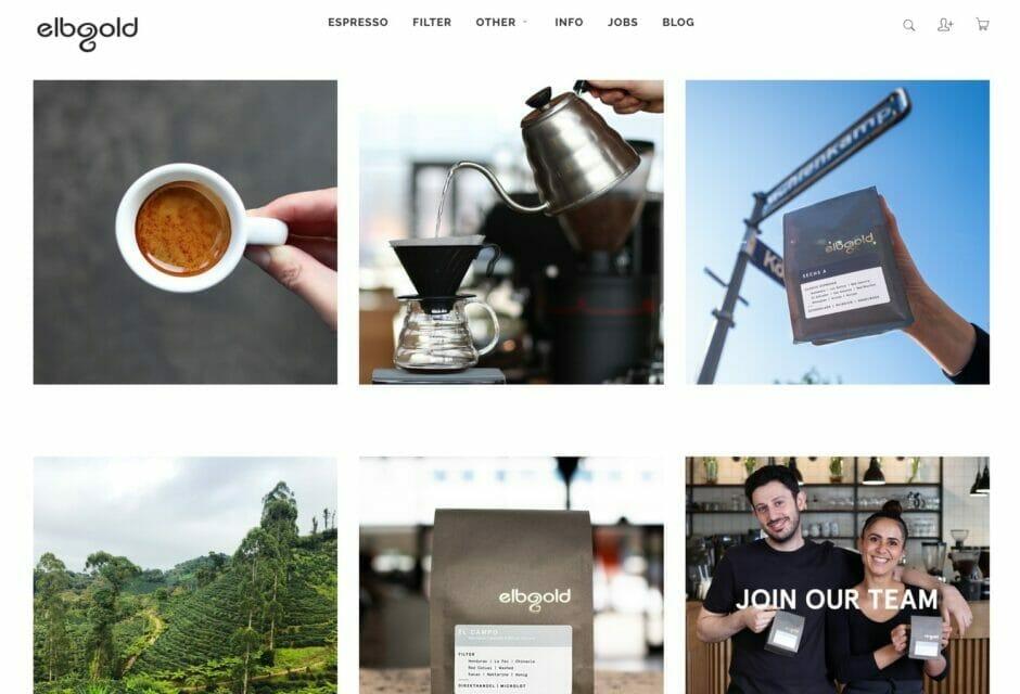 Screenshot der Startseite des Elbgold-Onlineshops
