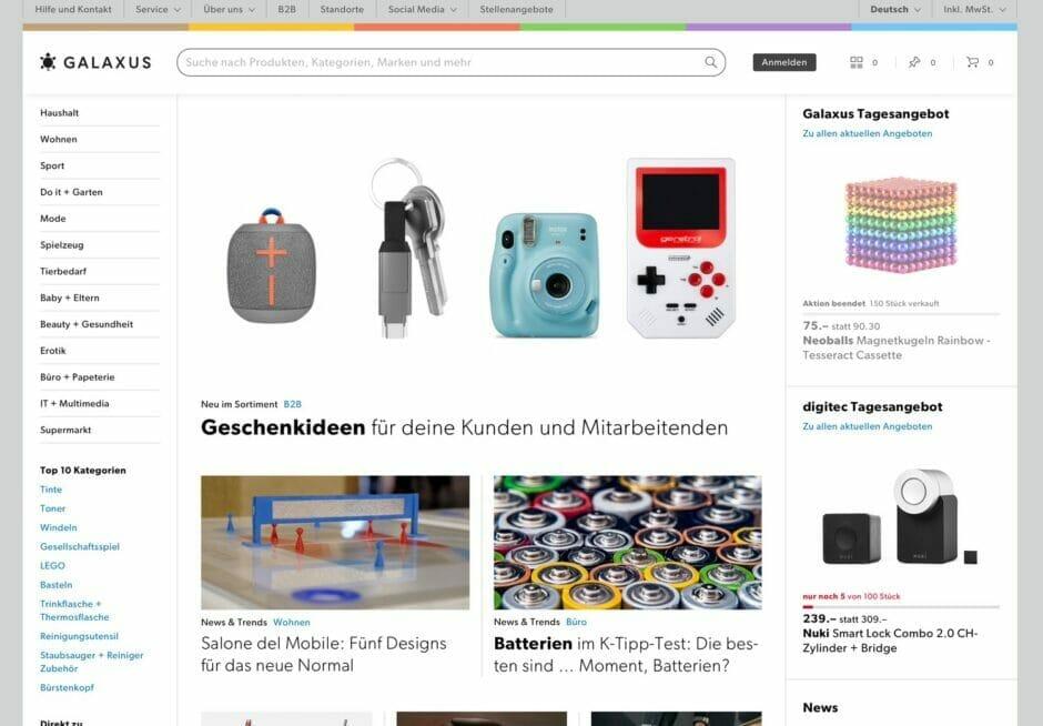 Screenshot der Galaxus-Startseite