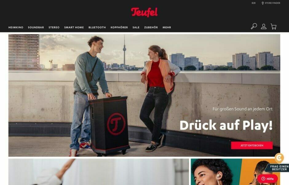 Screenshot der Teufel-Startseite