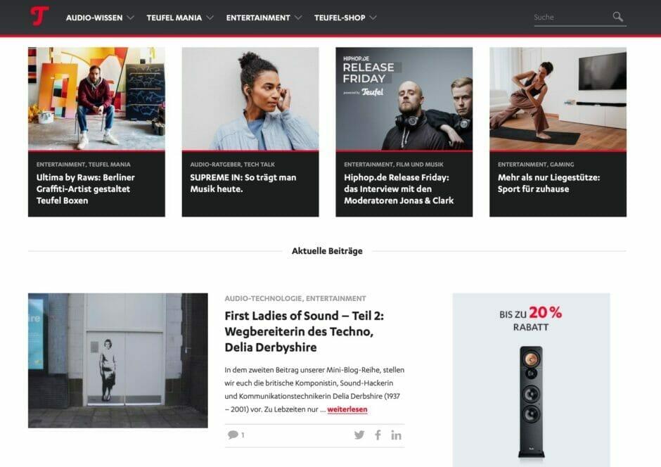 Screenshot des Teufel-Blogs